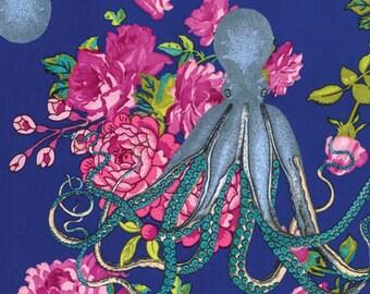 Free Spirit Tokyo Milk Neptune Mermaid Oceanus Navy Floral Octopus Fabric BTY PWTM002.8NAVY