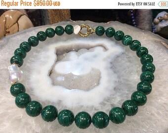 50% Mega Sale Malachite & Baroque Pearl Necklace Stunning!!!!