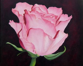 Pink Rose. Print from Original Acrylic Painting.