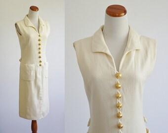 Vintage 60s Dress,  Sleeveless Shift Dress, Cream Dress, Gold Buttons, Button Down Dress, Adele Simpson Dress, Collar Dress, Bust 36 Medium