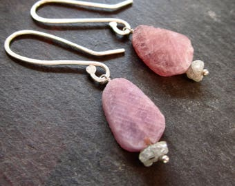 TINY Rough LUXE Diamond & Ruby Rough Cut Gemstone Earrings - Sterling Silver - Etsy Accessories - catROCKS - Grace and Frankie - Pink Grey