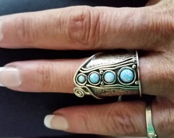Opal and sterling silver statement ring size 6.5