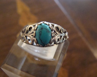 Sterling Silver Filigree & Turquoise Ring Size 8