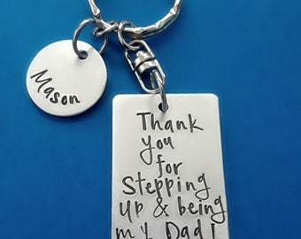 Step-Dad Gift, Hand Stamped Thank You for Stepping Up & Being a Dad Keychain, Father's Day gift for Step-Father, Personalized Step-Dad Gift