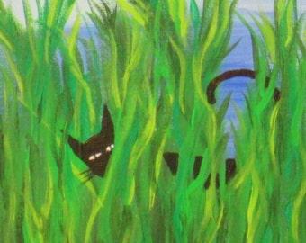 Original Acrylic Painting, Modern Acrylic on Canvas, Wall Art, Cats