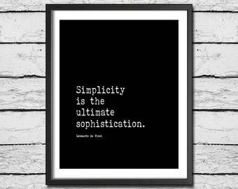 Leonardo Da Vinci Printable Quote 'Simplicity Is The Ultimate Sophistication' Digital Download Inspirational Print Hygge Quote Vintage Font