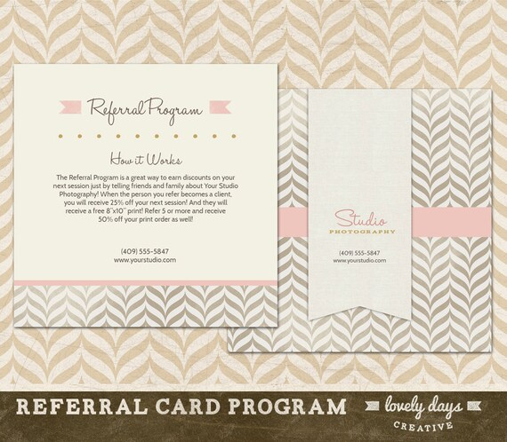 photography referral card template reference card for