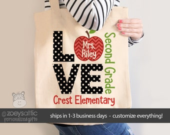 Teacher tote bag- love school personalized school bag for teachers or students - choose value or heavyweight tote MSCL-025-B