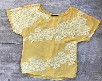 FREE SHIPPING,lace top,loose top,bohemian top,boho top,festival wear,yellow blouse,birthday gift,casual top,embroidery blouse,gift for her