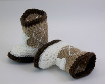 Cowboy Baby Booties  Medium Brown Ivory and Dark Brown Western Baby Boots Shoes NEWBORN