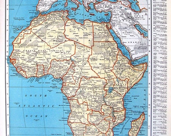 Map of Africa, Map of Egypt - 1937 Vintage Rand McNally Map from World Atlas 2 Sided