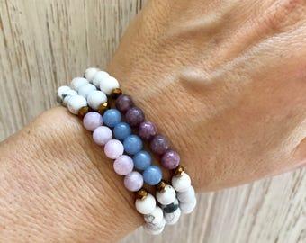 Angelite Mala Bracelet - Mala Beads - White Howlite Mala - Yoga Bracelet - Mala Bracelet Stack - Calm - Awareness - Mala Bracelet Stack