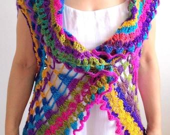 Mandala vest, boho sweater , circle vest, multicolor vest , sleeveless sweater, hippie vest, Mandala, Boho, fast shipping, READY TO SHİP