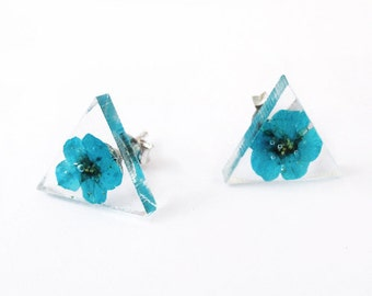 Fleur Triangle Turquoise earrings - nature jewelry resin flowers