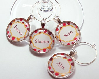 Custom Wine Charm, Personalized Wine Charms, Wine Glass Charms, silver plated, barware, entertaining, table setting, polka dot (4275)