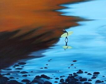 "Giclee Reproduction 8-1/2""x11"" Fine Art Paper by Daina Scarola, Sand Shadows (surf art, beach)"