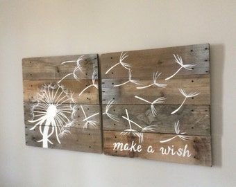 Medium Dandelion 2  -  21x21 inch signs side by side, dandelion blowing in the wind, pallet art, rustic wood, wall art,pallet furniture