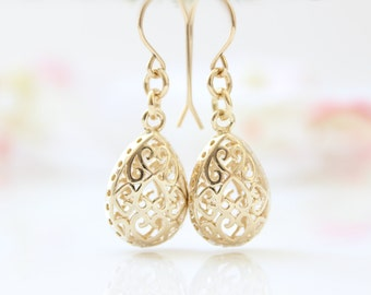 Gold Earrings • Gold filigree drop earrings • bridal earrings • Gifts for her