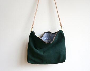 Green Suede Hobo / Green Bag / Green Crossbody / Crossbody Bag / Suede Bag / Suede Tote / Suede Purse