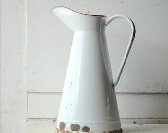 Vintage French white enamel  pitcher