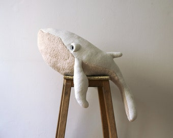 Big Albino Whale Stuffed Animal <0> Plush Toy <0> Cotton Jersey & Cotton Faux Fur