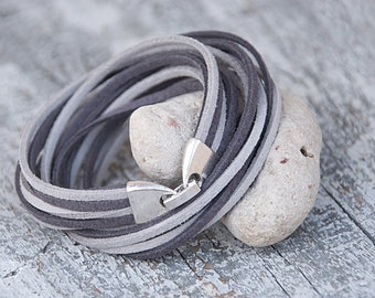 Glacier gray suede bracelet  Autumn trends Charm double wrap bracelet Multi strands bracelet Handmade Jewelry For her For him Minimalist