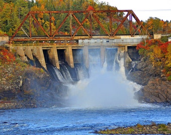 Waterfall and train bridge near Manitoulin Island, Ontario