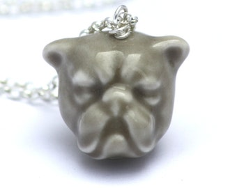 Bulldog necklace, handmade in porcelain