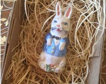 New 3D Dresden Rabbit Paper Easter Christmas Ornament Tailcoat Vest