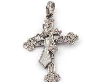 Mothers Day Sale 1 Pc Pave Diamond Designer Cross Pendant -925 Sterling Silver  - Designer Double Cross Pendant 49mmx33mm BLPD062