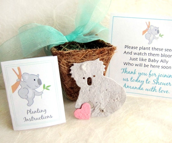 Baby Shower Favors Seeds ~ Koala baby shower favors plantable seed paper koalas and