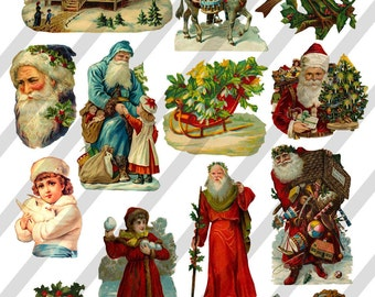 Digital Collage Sheet Victorian Christmas  Images (Sheet no. O154) Instant Download