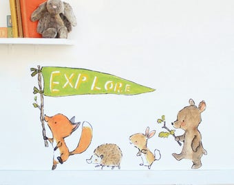 Forest nursery, woodland decor, Explorer Parade, wall decal, Kit Chase artwork, reusable