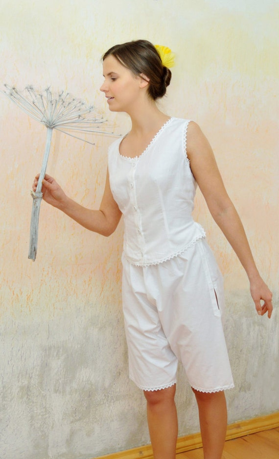 Vintage Inspired Nightgowns, Robes, Pajamas, Baby Dolls Lady Margaret - Vintage inspired Victorian white cotton pajamas/pyjamas undies Victorian drawers vest knickersLady Margaret - Vintage inspired Victorian white cotton pajamas/pyjamas undies Victorian drawers vest knickers $83.76 AT vintagedancer.com