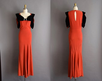 1930s vintage red rayon full length gown with black velvet trim 30s Small Medium art deco dress