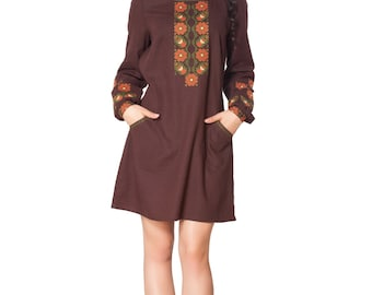 Free Shipping Embroidered organic dress for women with traditional ukrainian ornaments Size Plus