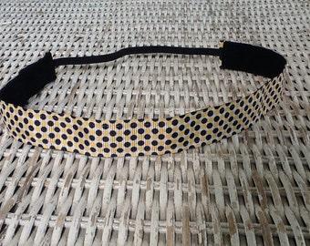 Black Yellow Polka Dot Headband - Womens Adjustable Headband