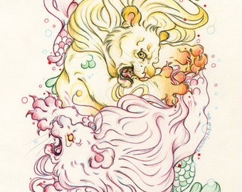 "Mermay#7 ""The Rott has come..."" - Original Merlion Drawing on Moleskine ORIGINAL OOAK Art"