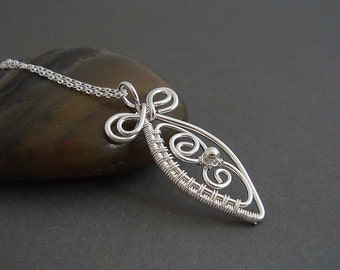 Bella  Sterling silver necklace with silver wire wrapped pendant. Sterling silver jewelry , gift for her