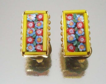 Rectangle Micro Mosaic Clip On Earrings Yellow Red Vintage Jewelry