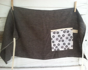 MOTHER'S DAY GIFTS, Linen Half Apron with Single Pocket - Grey With Black Rosebuds