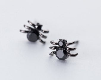 Tiny Black Spider Sterling Silver & Crystal Stud Earrings, Spider Earrings, Spider Jewelry, Spider Gift, Black Widow Earrings, Punk Earrings