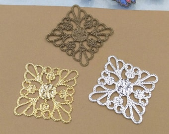 100PCS Brass 25mm Square Filigree Floral Base Setting Raw Brass/ Antique Bronze/ Silver/ Gold Plated Filigree Components Stamping