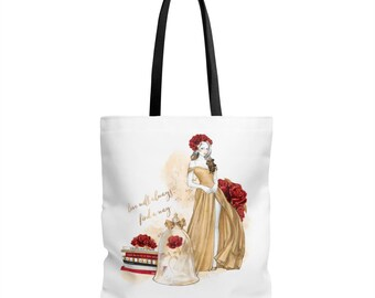 Beauty & The Beast Tote Bag, Belle Tote, Belle Tote Bag, Tote, Tote Bag, Beast, Princess, Beauty and the Beast Tote, Love Will Find A Way