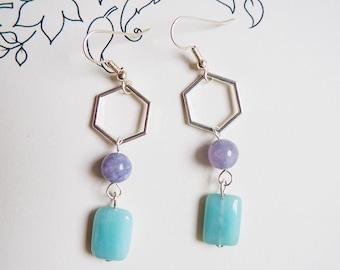 Summery Blue Stone Dangle Pentagonal Earrings, Amazonite & Aquamarine, Blue, Silver, Hexagon, Honeycomb