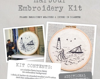 Harbour - Embroidery Kit - Create a wonderful harbour embroidery with this lovely kit