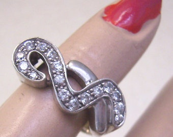Sale...Vintage Sterling Cubic Zircon Swirl Ring...Size 7 1/2... Weighs 6 Grams...Sparkling CZ Sterling Ring