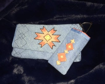 Needlepoint Clutch with eyeglass case