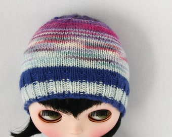 Blythe Lulu Hat knitting PATTERN - cute snug skull cap doll hat - instant download - permission to sell finished objects