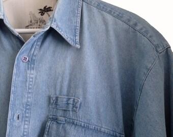 Denim Shirt 80s Short Sleeve, Vintage Blue Jean Men's Shirt, Outerwear, Casual Wear Denim, Button Down BUGLE BOY Pocket Shirt Size L